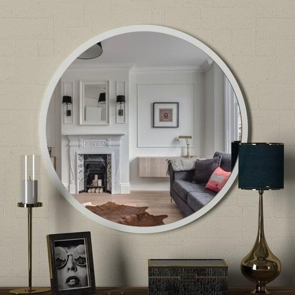Kulaté nástěnné zrcadlo vbílémém rámu Glob, ⌀59cm