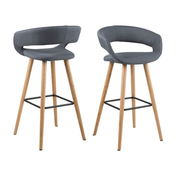 Sada 2 tmavě šedých barových židlí Actona Grace