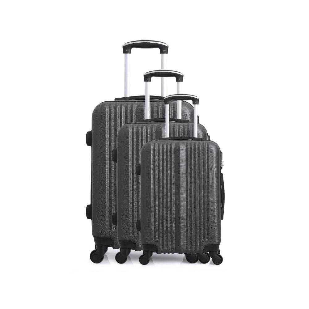 Sada 3 tmavě šedých cestovních kufrů na kolečkách Hero San Diego