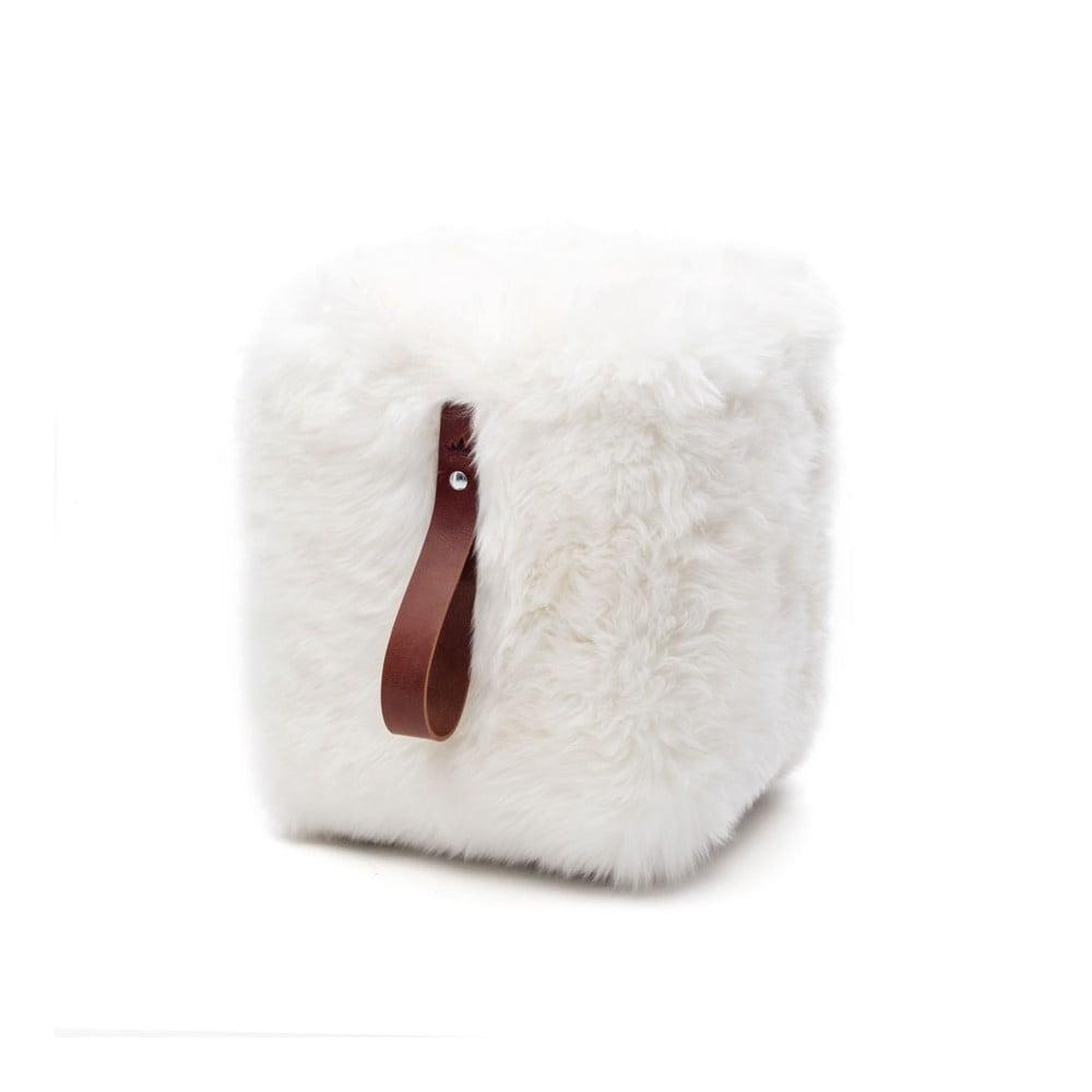 Bílý hranatý puf z ovčí kožešiny s hnědým detailem Royal Dream, 45 x 45 cm