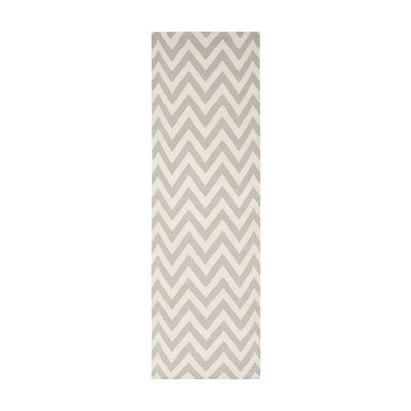 Vlněný koberec Nelli 76x243 cm, šedý