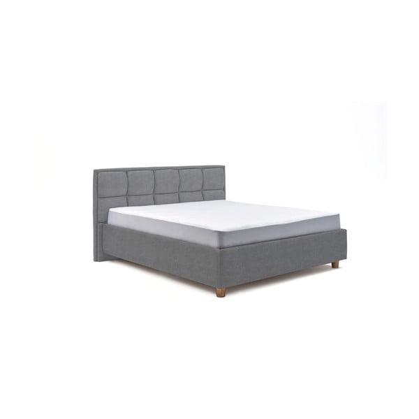 Modrosivá dvojlôžková posteľ s úložným priestorom PreSpánok Karme, 180 x 200 cm