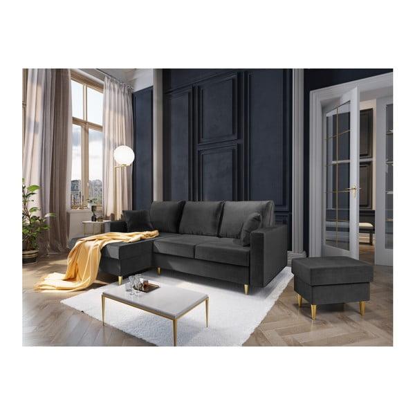 Tmavě šedá čtyřmístná rozkládací pohovka s úložným prostorem Mazzini Sofas Muguet, levý roh