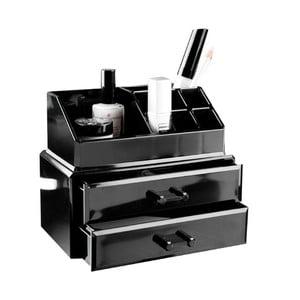 Organizator pentru cosmetice cu 2 sertare Compactor, negru