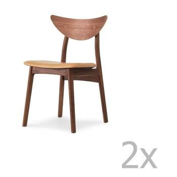 Set 2 scaune din lemn masiv de nuc WOOD AND VISION Chief, maro de la Wood and Vision