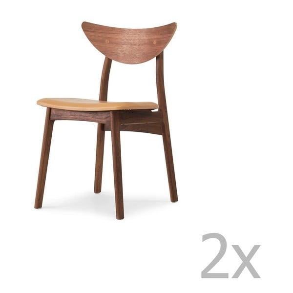 Set 2 scaune din lemn masiv de nuc WOOD AND VISION Chief, maro