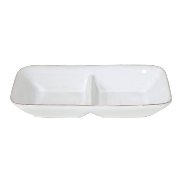 Bol dublu din gresie ceramică Costa Nova Aparte, 25 x 13,3 cm, alb