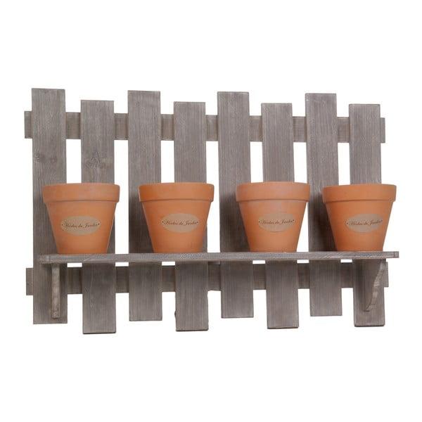 Set 4 květináčů se závěsným dřevěným podnosem