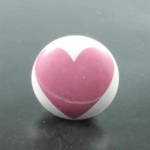 Porcelánová úchytka Pink Heart