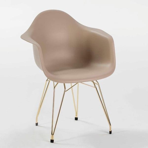 Béžová židle s kovovým podnožím Thai Natura