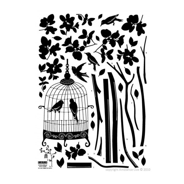 Samolepka Ambiance Tree And Birds In A Cage