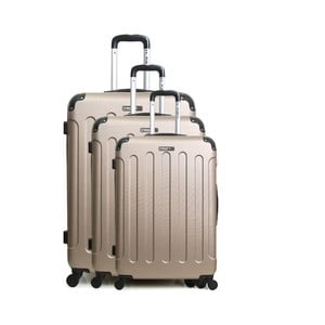 Sada 3 světle béžových cestovních kufrů na kolečkách Bluestar Vanity Champagne