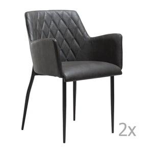 Sada 2 šedých  jídelních židlí s područkami DAN– FORM Rombo Faux