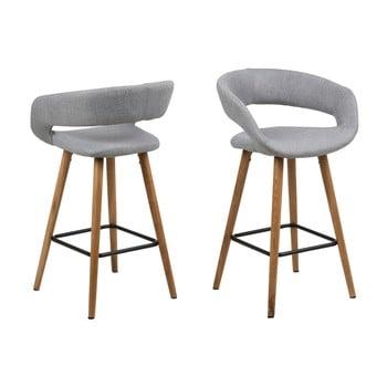 Set 2 scaune de bar Actona Gill, gri imagine