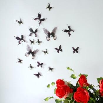 Set 18 autocolante 3D Ambiance Butterflies Chic negru