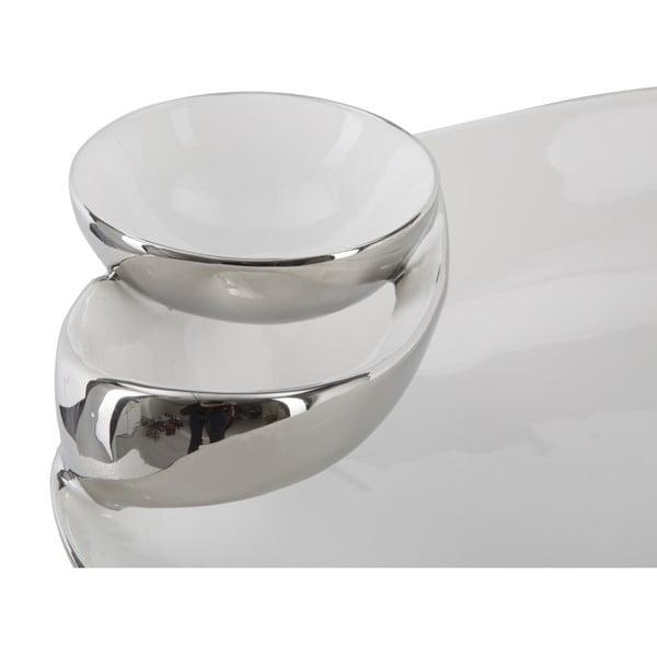 Bílo-stříbrná dekorativní keramická miska Mauro Ferretti Soap