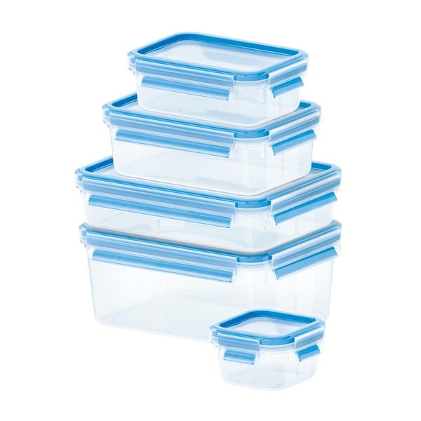5 boxů na uskladnění jídla Clip&Close,  0.25+0.55+1+1.2+2.3 l