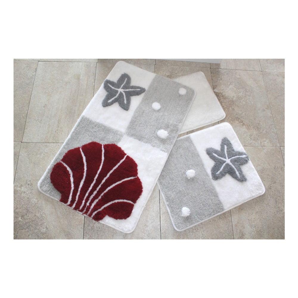 Sada tří koupelnových předložek s mořským motivem v šedo-červené barvě Knit Knot