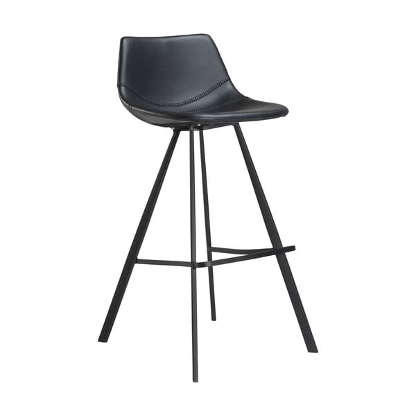 Čierna barová stolička z eko kože s čiernou kovovou podnožou DAN–FORM Denmark Pitch