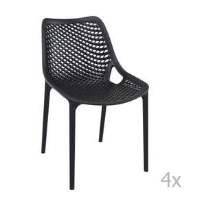 Sada 4 černých zahradních židlí Resol Grid