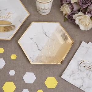 Sada 8 papírových tácků s kovově lesklým dekorem Neviti Marble, ⌀20cm
