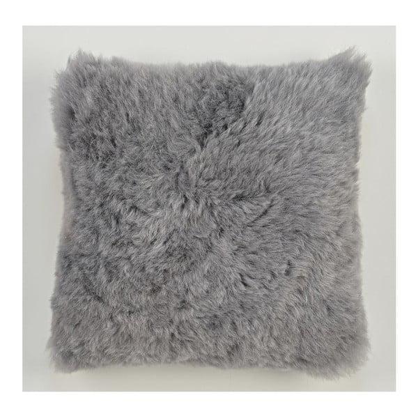 Šedý kožešinový polštář s krátkým chlupem Grey, 35x35cm