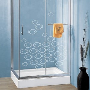 Samolepka Wallvinil Rybí hejno, efekt pískovaného skla