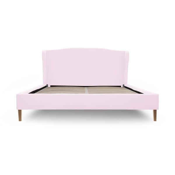 Pastelově růžová postel s přírodními nohami Vivonita Windsor,140x200cm