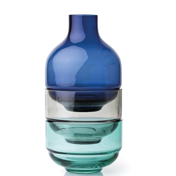 Sada 3 malých modrých skleněných misek LEONARDO Fusione
