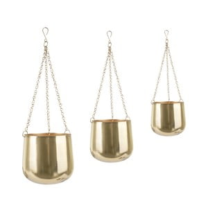 Sada 3 závěsných železných květináčů ve zlaté barvě PT LIVING Cask