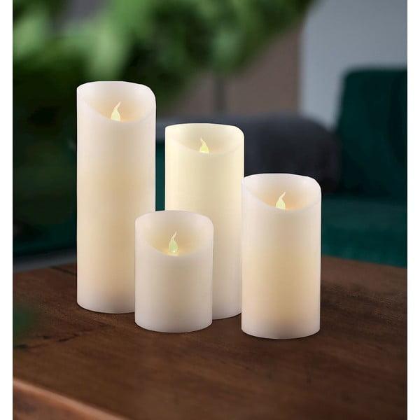 Sada 4 LED svetelných sviečok DecoKing Wax, výška 10; 12,5; 15 a 20 cm