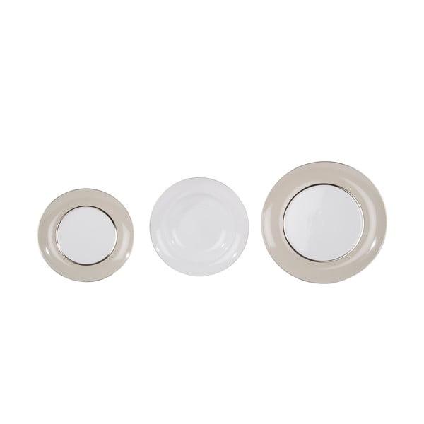 Sada 18 porcelánových talířů Ramponi Pearl Gray