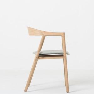 Jídelní židle z masivního dubového dřeva s modrošedým sedákem Gazzda Muna