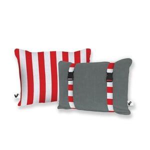 Šedý oboustranný plážový polštář Origama Red Stripes