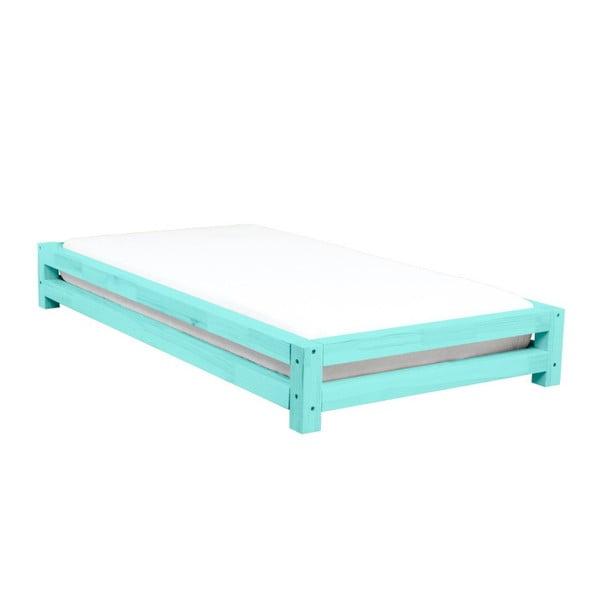 Tyrkysová dětská postel zesmrkového dřeva Benlemi JAPA, 90x180cm