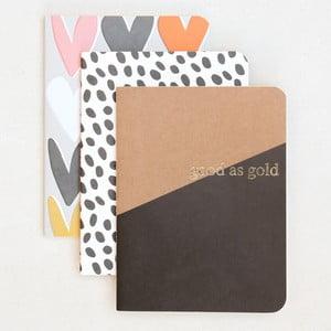 Sada 3 zápisníků Caroline Gardner Kraft Notebooks