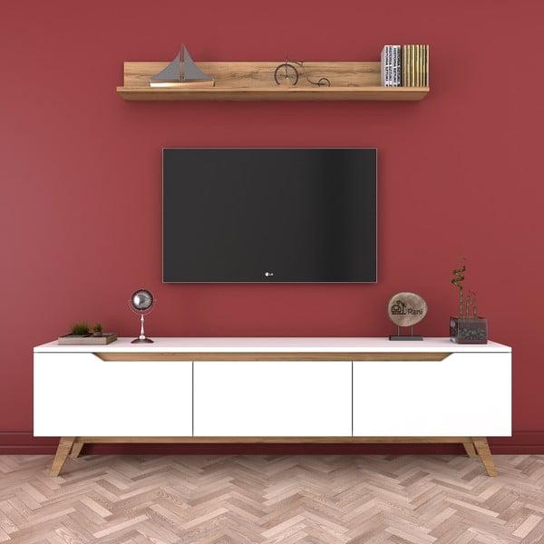 Set comodă TV cu 3 uși rabatabile și etajeră de perete Rani White, alb-natural