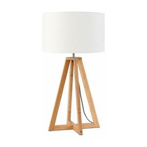 Stolní lampa s bílým stínidlem a konstrukcí z bambusu Good&Mojo Everest