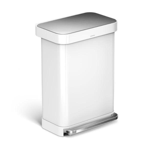 Bílý odpadkový koš simplehuman, 55 l