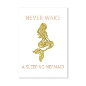 Plakát Americanflat Never Wake a Sleeping Mermaid, 30 x 42 cm