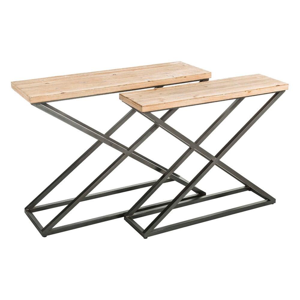 Sada 2 odkládacích stolků s deskou z jedlového dřeva Mamija