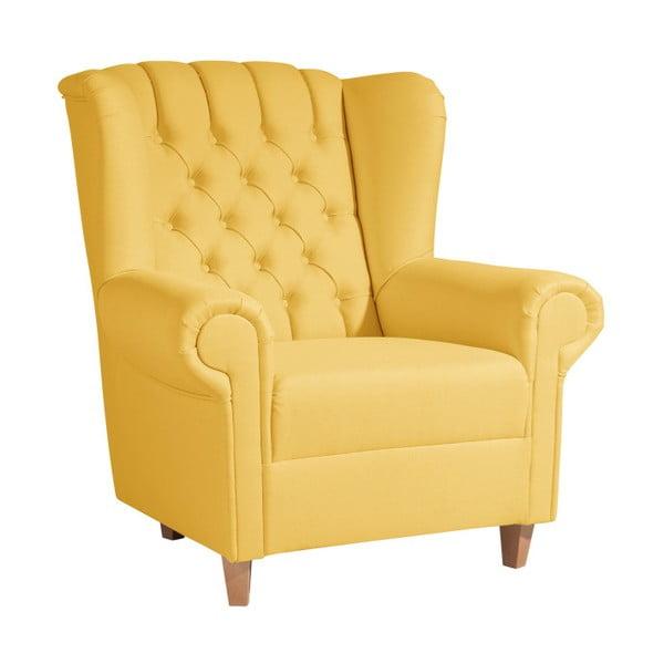 Žluté křeslo ušák Max Winzer Vary Leather Corn