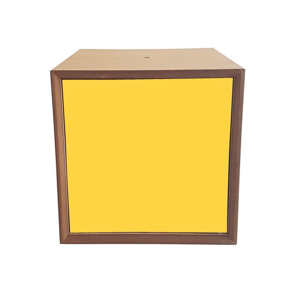 Policový díl se žlutými dvířky Ragaba PIXEL, 40 x 40 cm