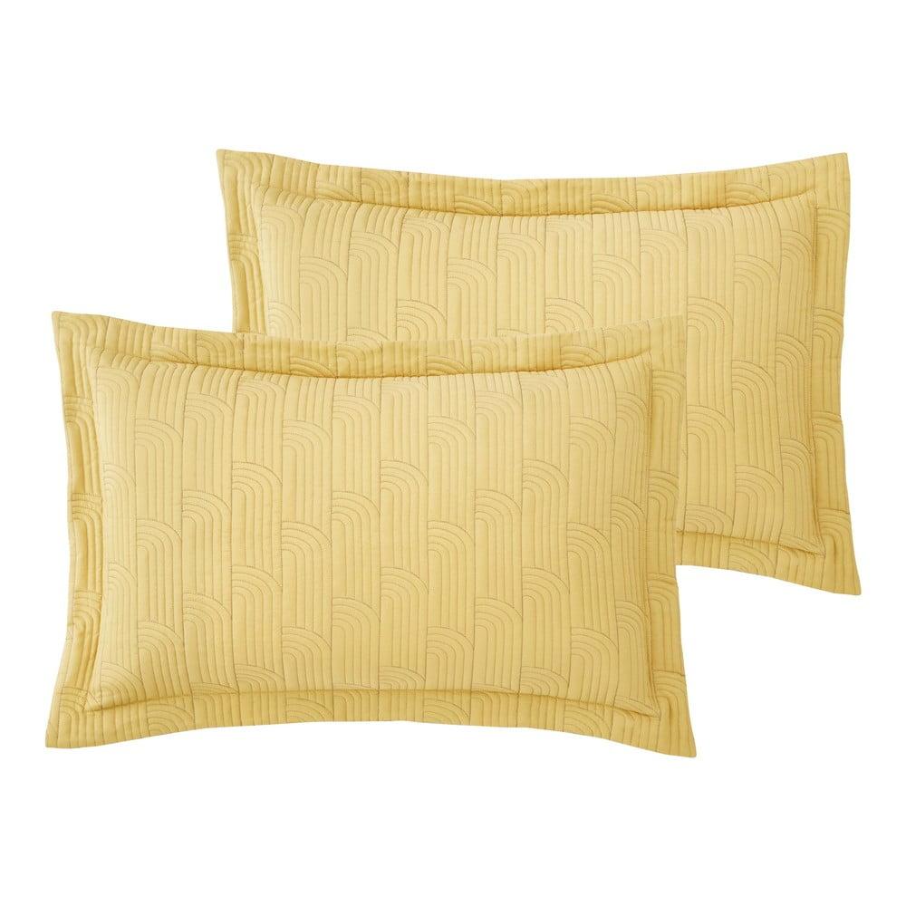 Sada 2 žlutých povlaků na polštář Catherine Lansfield Embroidered Blossom, 50 x 75 cm