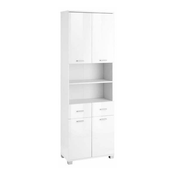 Bílá čtyřdveřová dřevěná koupelnová skříňka Støraa Rhonda