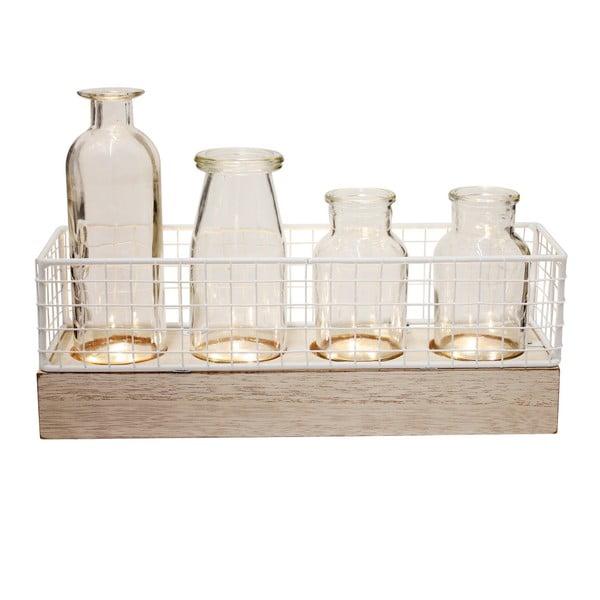 Zestaw 4 wazonów w dekoracyjnym stojaku LED Le Studio LED Vases