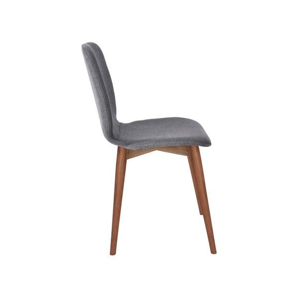 Set 2 scaune cu picioare din lemn masiv de nuc WOOD AND VISION Basic, gri