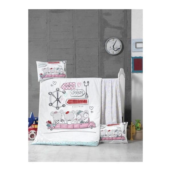 Trip pamut gyermek ágyneműhuzat-garnitúra lepedővel, 100 x 150 cm