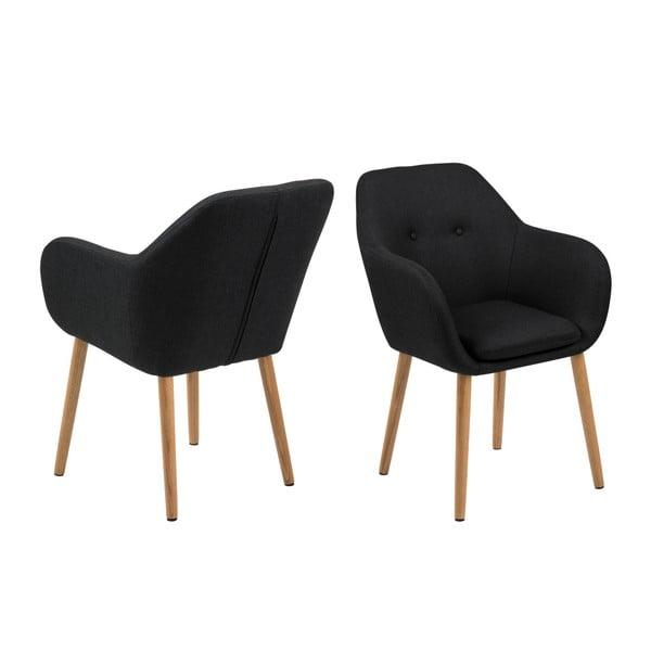Czarny tapicerowany fotel Actona Emilia