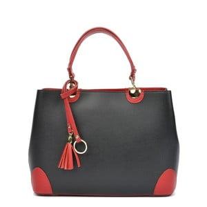 Černá kožená kabelka s růžovými detaily Isabella Rhea London Nero